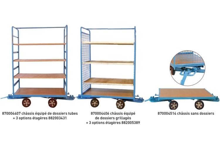 remorques en train 2 essieux directeurs capacit 500 kg remorques manutention au sol. Black Bedroom Furniture Sets. Home Design Ideas