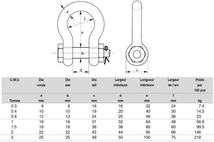 manille de levage lyre inox mlbi avec axe boulonn. Black Bedroom Furniture Sets. Home Design Ideas