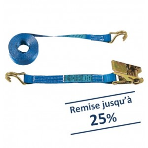 Arrimage 'LOISIR' 25 mm 25DR en 2 parties avec crochets à 2 doigts rapprochés - LC 350 daN