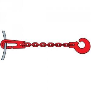Chaîne choker DCT3 GRADE 80 profil carré avec crochet fendu et crochet coulissant - Section 8 mm