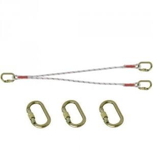 Longe d'assujettissement double en drisse LDF11101010 avec 3 connecteurs M10 manuels ouv. 17 mm