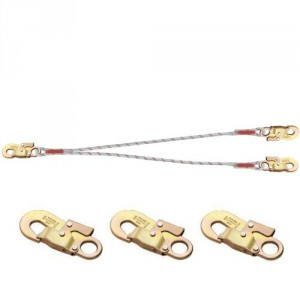Longe d'assujettissement double en drisse LDF11414141 avec 3 connecteurs M41 auto ouv. 17 mm
