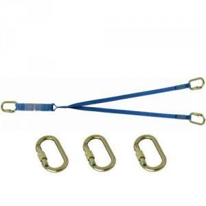 Longe sangle absorbeur double LSAD301010 avec 3 connecteurs manuels acier M10 ouv. 17 mm