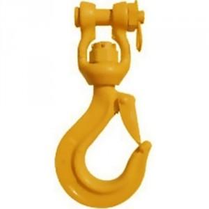 Crochet à linguet tôle CSEK16 GRADE 80 avec émerillon à chape sur bague bronze (NON ROTATIF SOUS CHARGE) - Capacité 8 t