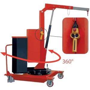 Grue d'atelier en porte-à-faux avec MÂT ROTATIF sur 360° et élévation ÉLECTRIQUE - Capacité 0,32 t à 0,5 t