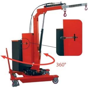 Grue d'atelier en porte-à-faux avec MÂT ROTATIF sur 360°, élévation et flèche ÉLECTRIQUE - Capacité 0,32 t à 0,5 t
