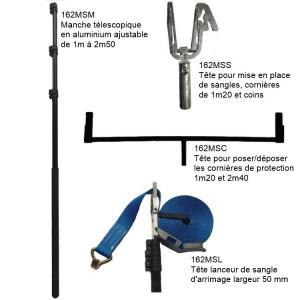 Perche télescopique multifonctions 1m-2m50 avec 3 têtes interchangeables pour sangles, cornières 1m20 à 1m40 et coins
