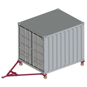 Jeu de 4 roues et 1 timon pour deplacement des containers par les coins ISO - Capacité 4 t et 8 t