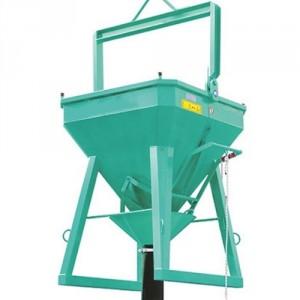 Benne droite à entonnoir et corde de déclenchement BECD 400 litres à 2000 litres - Capacité 1040 kg à 5200 kg