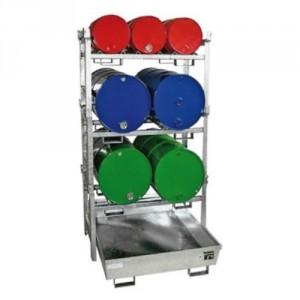 Rayonnage à fûts 217BFRA308 + 2x217BFR400 + 217BFR4001 - Volume de rétention 265 litres et 308 litres - Capacité 200 kg à 400 kg