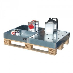 Bac de rétention petits récipients BKGWP pour palettes - Capacité 50 kg à 200 kg
