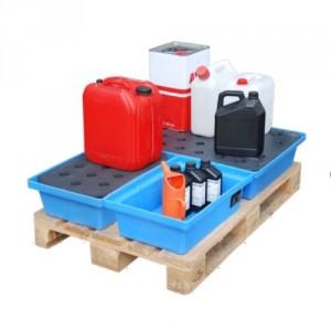Bac de rétention BKWP en PE pour palette - Volume de rétention 22 Litres à 104 Litres - Capacité 55 kg à 205 kg