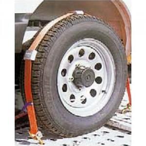 Arrimage de roue PV25 en sangle 50 mm avec 3 crochets + 3 patins - LC 1000 daN