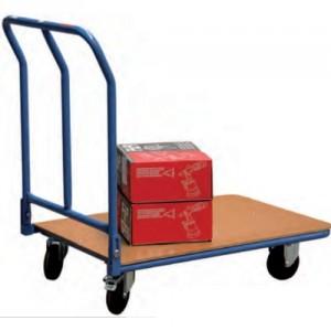 Chariot acier à dossier rabattable avec plateau en médium - Capacité 250 kg