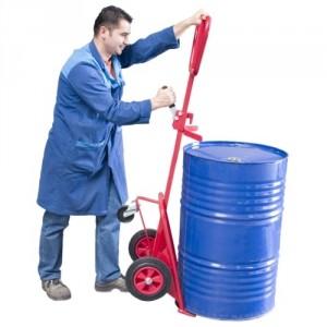 Diable ergonomique pour fûts plastiques et métalliques à rebords 220 litres - Capacité 350 kg