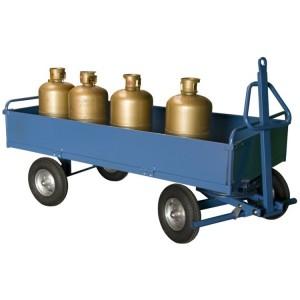 Remorque industrielle à 1 essieu directeur / Avec 2 dossiers fixes + 2 ridelles rabattables en tôle - Capacité 1000 kg