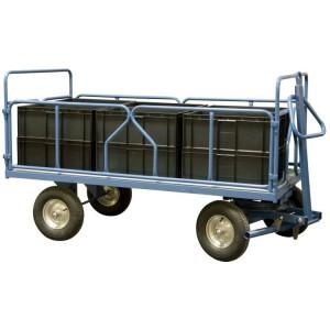 820*7137 - Remorque industrielle à 1 essieu directeur / Avec 2 dossiers fixes + 2 ridelles tubes - Capacité 1000 kg