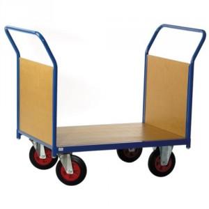 Chariot 500 kg 2 dossiers bois plateau 1000x700 roues Ø200