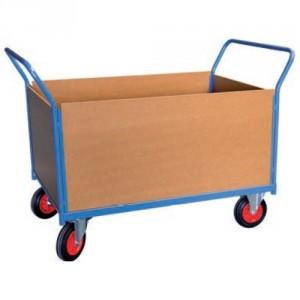 Chariot 500 kg 2 dossiers + 2 ridelles bois plat. 1000x700 roues Ø200