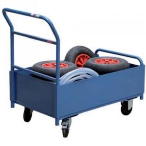 Chariot modulaire habillage TÔLE avec 1 dossier et 2 demi-ridelles - Capacité 250 kg