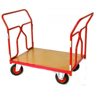 Chariot 500 kg 2 dossiers tube plateau 1000x700 roues Ø200