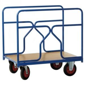 Chariot 500 kg 2 ridelles tube plateau 1200x800 roues Ø200