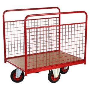 Chariot 500 kg 2 ridelles grillagées plat 1200x760 roues losange Ø200
