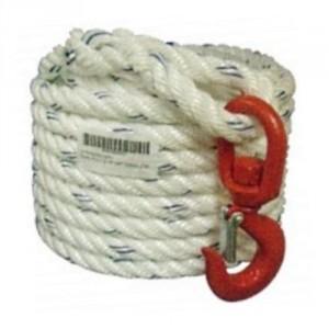 Corde à poulie Ø 20 mm équipée d'un crochet tournant - Longueurs 15 m, 25 m et 50 m