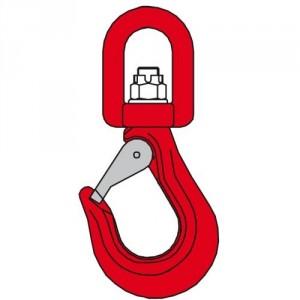 Crochet à linguet CSE avec émerillon sur bague bronze (NON ROTATIF SOUS CHARGE) - Capacité 2 t à 5,3 t