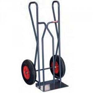 Diable tout terrain équipé de roues pneumatiques Ø 400 mm, montées sur roulement à billes permettant d'évoluer sur un terrain accidenté et de franchir plus aisément tous les obstacles