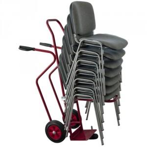 810*5340 : diable porte chaises empilables roues caoutchouc Ø 200 mm pour sol lisse