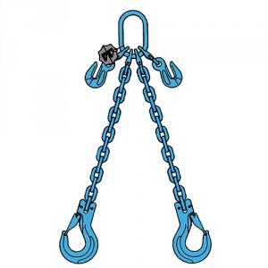 Elingue chaîne 2 brins GRADE 120 avec crochet à linguet BRINS REGLABLES - CMU 3,35 t à 11,2 t