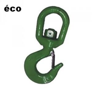 Crochet à linguet tôle 'éco' CSEA acier ALLIE avec émerillon (NON ROTATIF SOUS CHARGE) - Capacité 1,25 t à 8 t