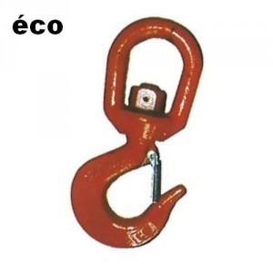 Crochet à linguet tôle 'éco' CSEC acier CARBONE avec émerillon (NON ROTATIF SOUS CHARGE) - Capacité 0,8 t à 5 t