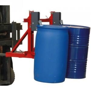 Pince automatique pour 2 fûts plastiques ou métalliques à rebords - Capacité maxi 1 t