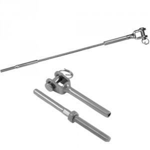 Câble acier INOX Ø 3 mm à 12 mm avec 1 terminaison filetée et 1 terminaison à chape fixe
