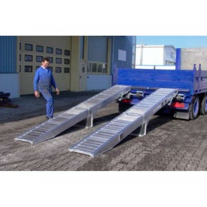 Equilibrage et articulations pour rampes. Le modèle présenté comporte les deux options : une articulation centrale avec pieds et un équilibrage par ressorts.