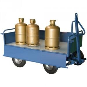 Chariot à 1 essieu directeur équipé de 2 dossiers fixes + 2 ridelles tôle rabattables - Capacité 500 kg