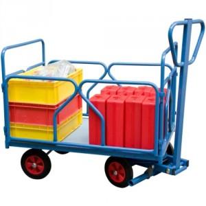 Chariot à 1 essieu directeur équipé de 2 dossiers + 2 ridelles tube amovibles - Capacité 500 kg