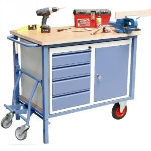 880*8894 avec 1 bloc tiroirs + 1 bloc porte - Servante établi à roues escamotables - Capacité 500 kg