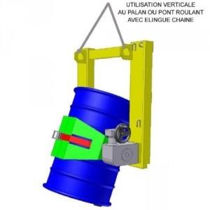 Retourneur fûts métal.&plast. Ø350-600 mm volant+réducteur CMU 400 kg