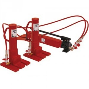 Kit de 2 crics avec pompe hydraulique et flexible - Capacité 10 t et 20 t