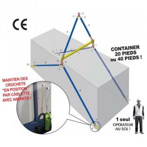 Kit lève container de 15 pieds, 20 pieds ou 40 pieds - Capacité de 10 t à 30 t