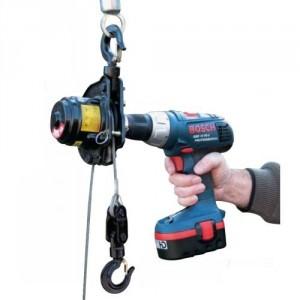 PULLEY MAN mini treuil portatif adaptable sur perceuse/visseuse 12V - Capacité 300 kg