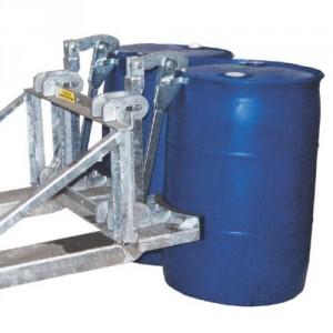 Pince automatique pour 1 ou 2 fûts métalliques et plastiques à anneaux 210 l de type MAUSER L-Ring & L-Ring plus - Capacité 0,8 t et 1,6 t