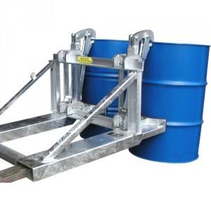 Pince automatique pour 1 ou 2 fûts métalliques et plastiques à rebords de 210 l - Capacité 0,8 t et 1,6 t