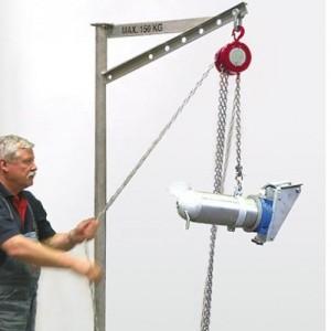 Potence transportable zinguée ou inox - Capacité 150 kg, portée 0,77 m