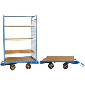 Remorques en train à 2 essieux directeurs - Capacité 500 kg