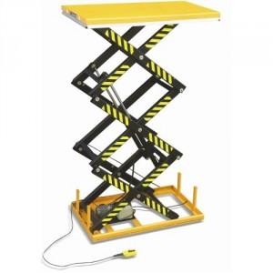 Table élévatrice électrique fixe encastrable 3 ciseaux TH - Capacité 1000 kg à 2000 kg, hauteur maxi 2990 mm