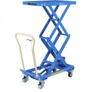Table élévatrice professionnelle BISHAMON élévation manuelle double ciseaux - Capacité 150 kg à 500 kg
